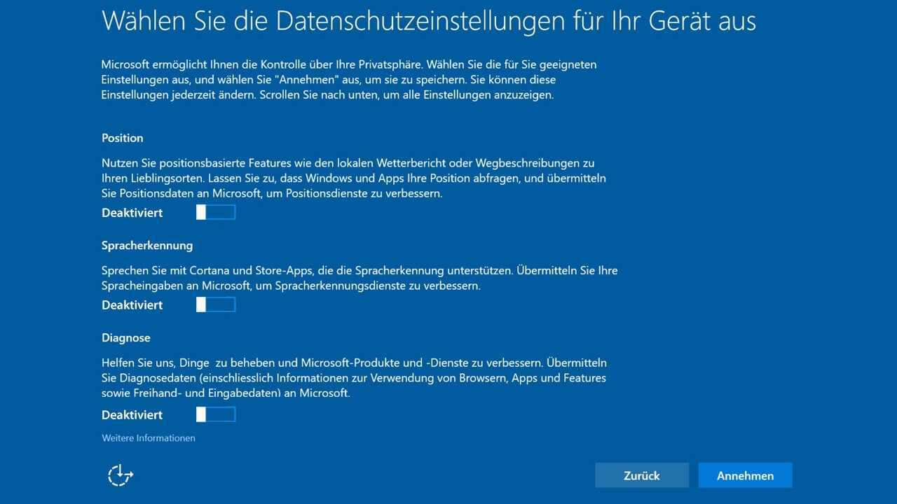 Windows 10 Creator Update Slider deaktiviert